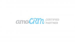 amoCRM partner badge, white hub24web start online, sales, make website